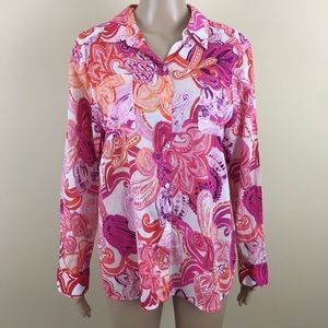 Chico's 2 12 paisley button up pockets sheer pink